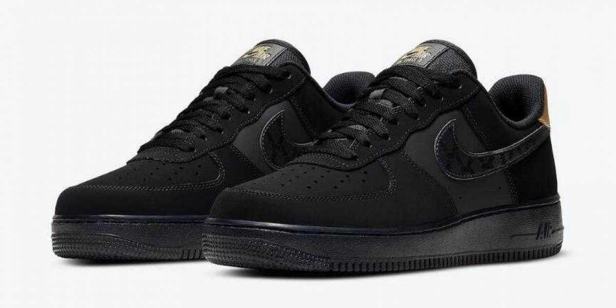 2020 Newly Nike Air Force 1 Low Black Nubuck Metallic Gold
