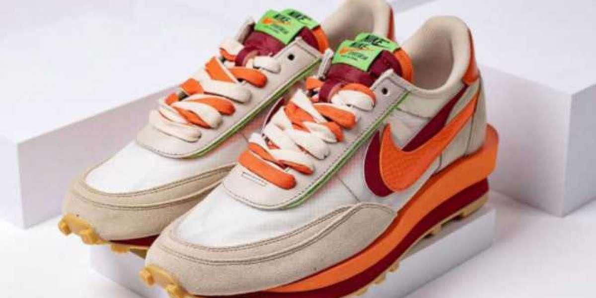 2021 New Clot x Sacai x Nike LDWaffle Net/Orange Blaze-Deep Red-Green Bean DH1347-100 Hot Sell!